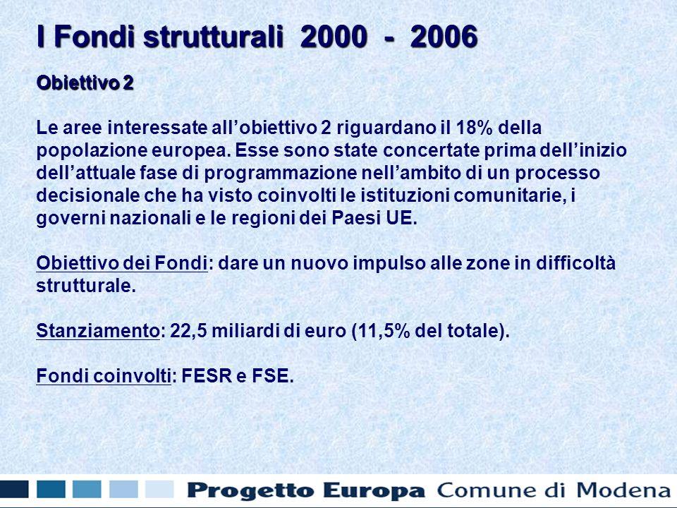 Obiettivo 2 Le aree interessate allobiettivo 2 riguardano il 18% della popolazione europea.