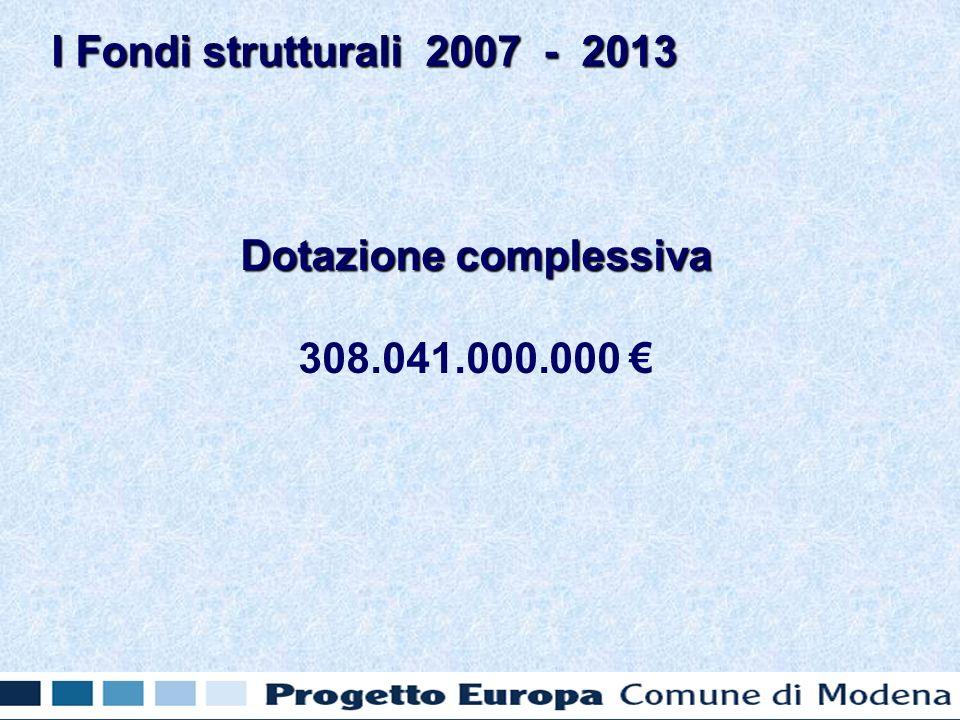 Dotazione complessiva 308.041.000.000 I Fondi strutturali 2007 - 2013
