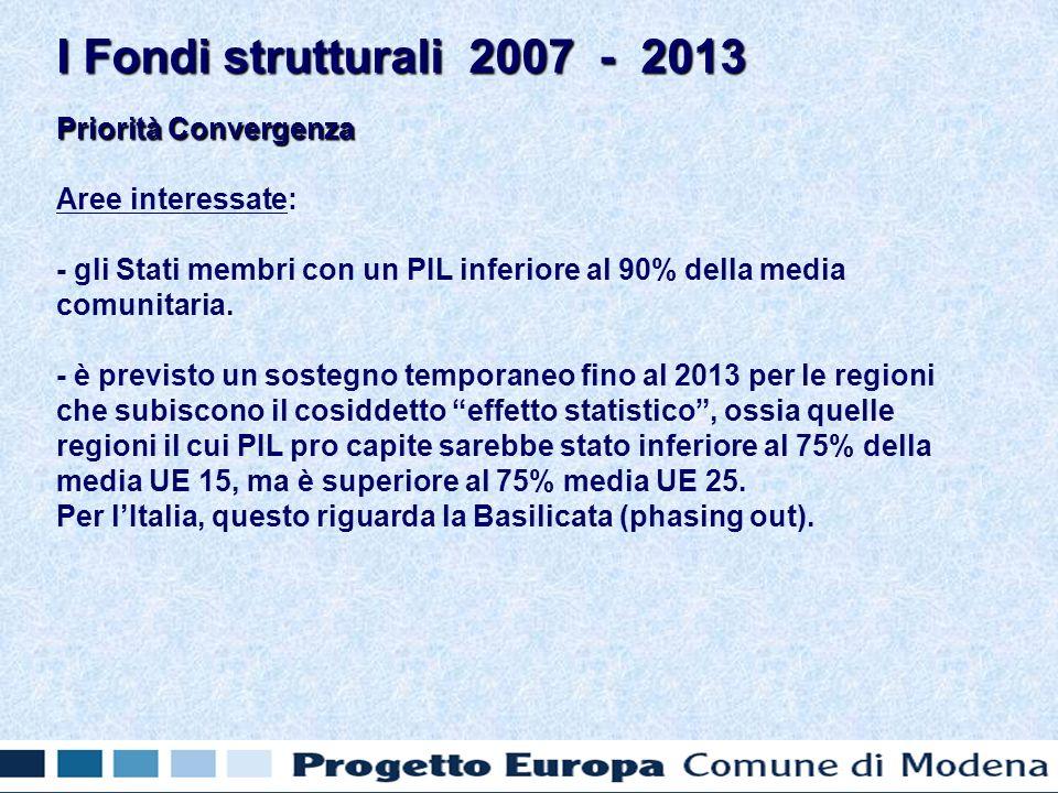Priorità Convergenza Aree interessate: - gli Stati membri con un PIL inferiore al 90% della media comunitaria.