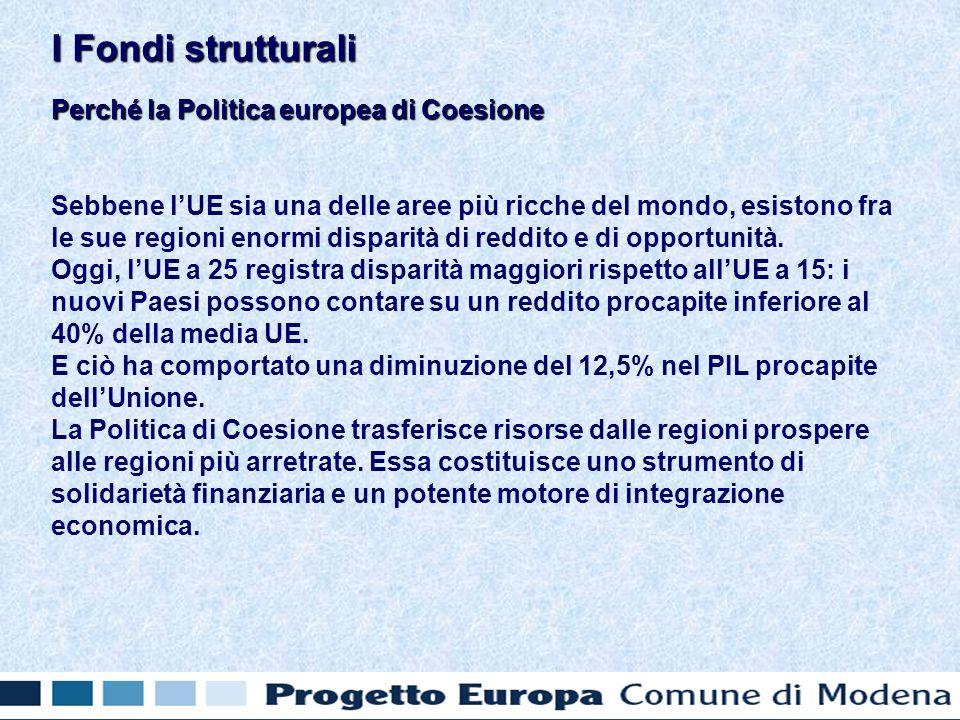 La Politica europea di Coesione Nel periodo 2000 - 2006, sono stati investiti su questa politica circa 257 miliardi di euro, che rappresentano circa il 37% del bilancio comunitario fino al 2006: - 213 miliardi di euro per lUnione dei 15; - 22 miliardi di euro nellambito della politica di preadesione; - 22 miliardi di euro a carico degli interventi strutturali a favore dei nuovi Stati membri per il periodo 2004 - 2006.