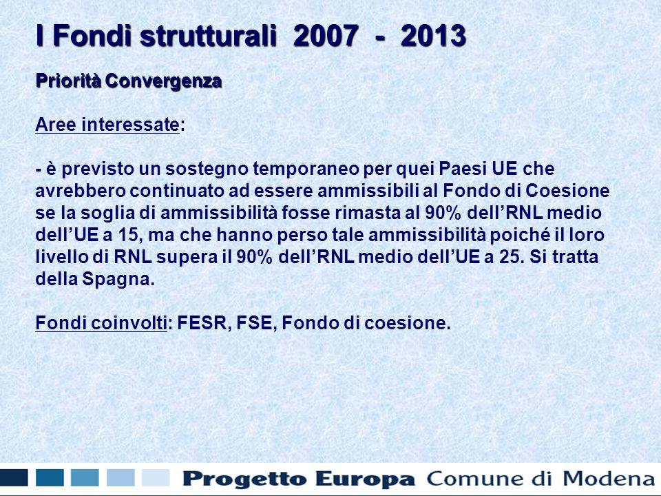 Priorità Convergenza Aree interessate: - è previsto un sostegno temporaneo per quei Paesi UE che avrebbero continuato ad essere ammissibili al Fondo di Coesione se la soglia di ammissibilità fosse rimasta al 90% dellRNL medio dellUE a 15, ma che hanno perso tale ammissibilità poiché il loro livello di RNL supera il 90% dellRNL medio dellUE a 25.