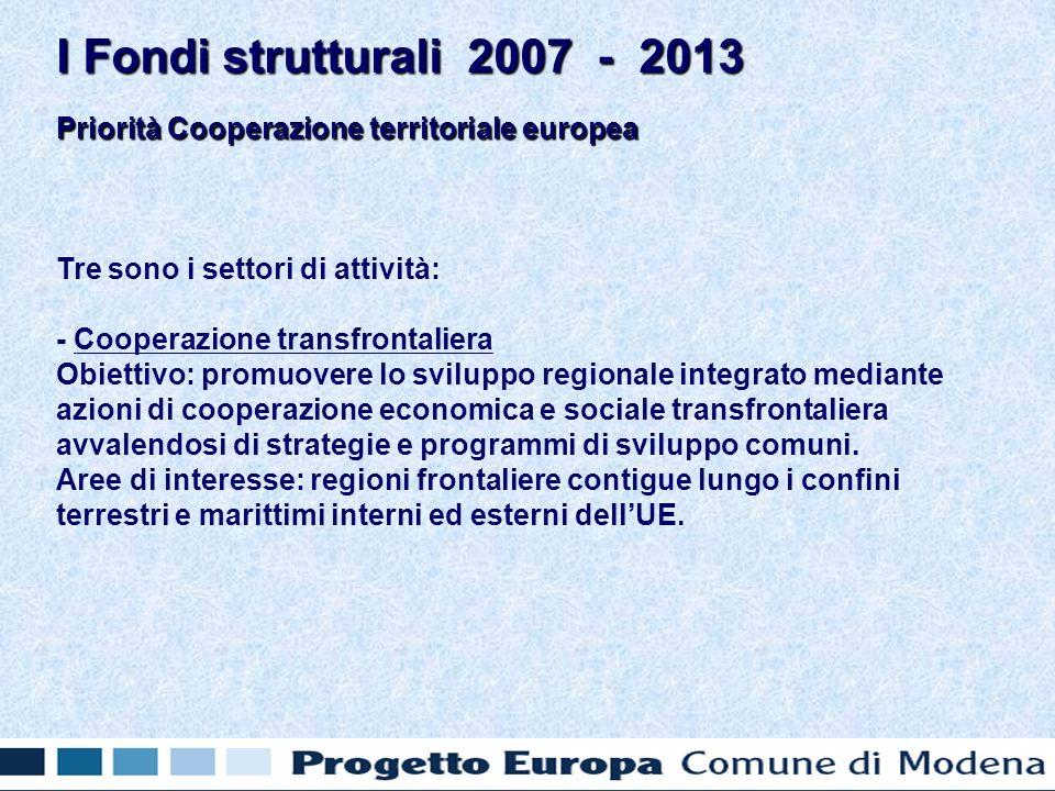 Priorità Cooperazione territoriale europea Tre sono i settori di attività: - Cooperazione transfrontaliera Obiettivo: promuovere lo sviluppo regionale integrato mediante azioni di cooperazione economica e sociale transfrontaliera avvalendosi di strategie e programmi di sviluppo comuni.