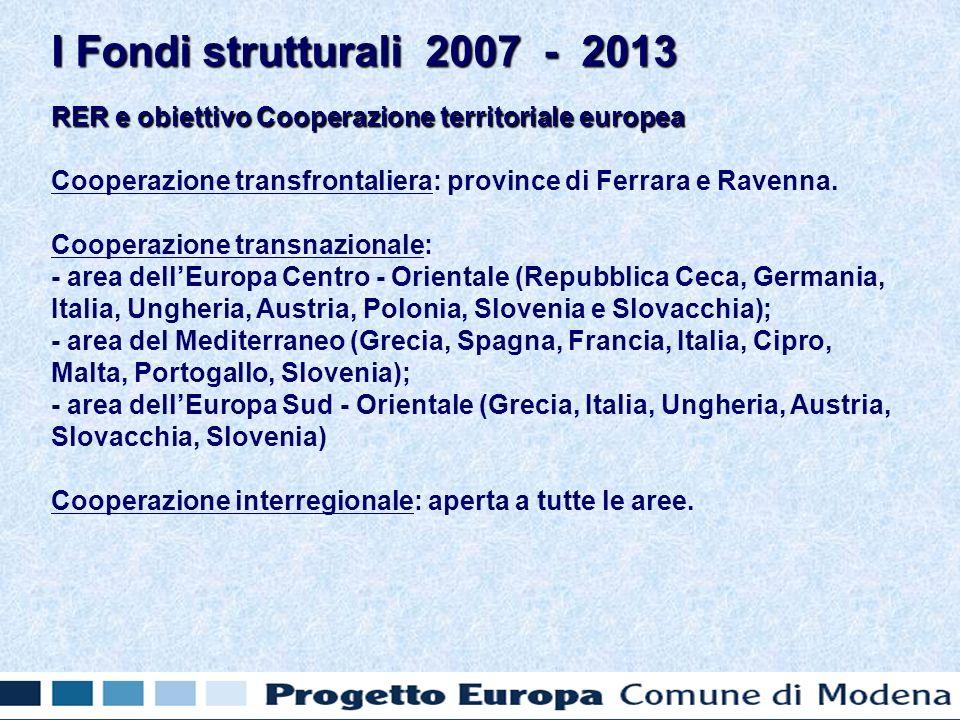 RER e obiettivo Cooperazione territoriale europea Cooperazione transfrontaliera: province di Ferrara e Ravenna.
