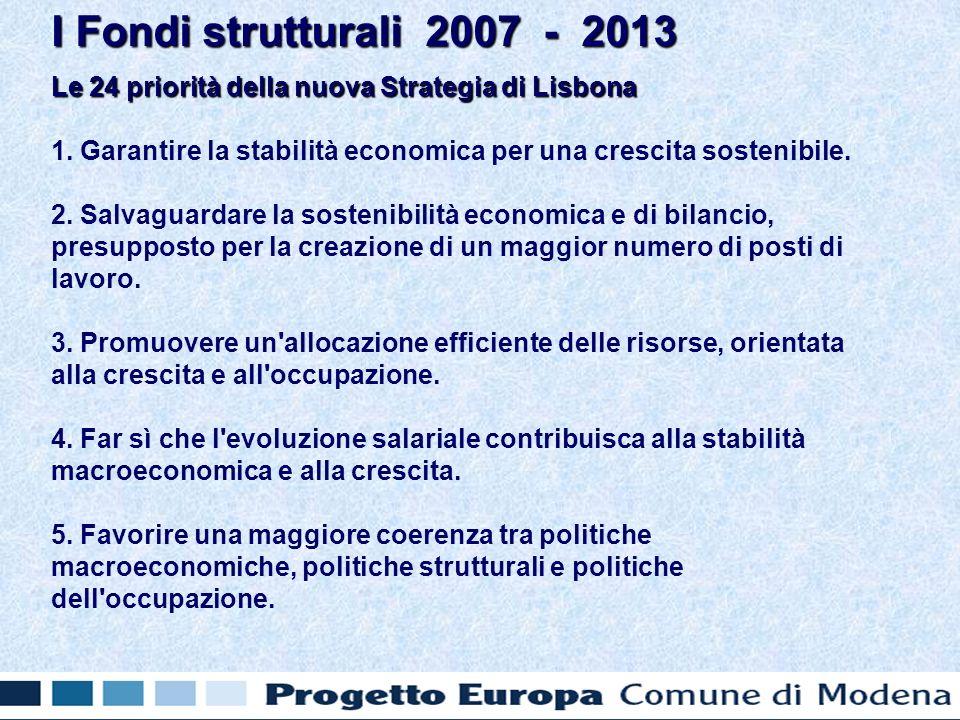 Le 24 priorità della nuova Strategia di Lisbona 1.