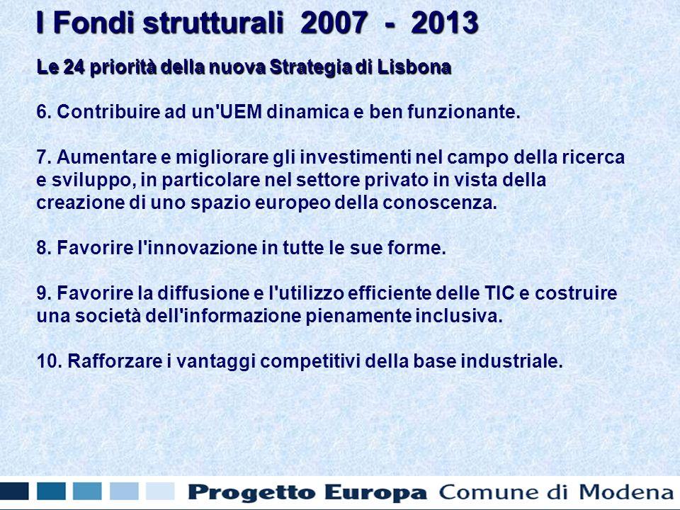 Le 24 priorità della nuova Strategia di Lisbona 6.
