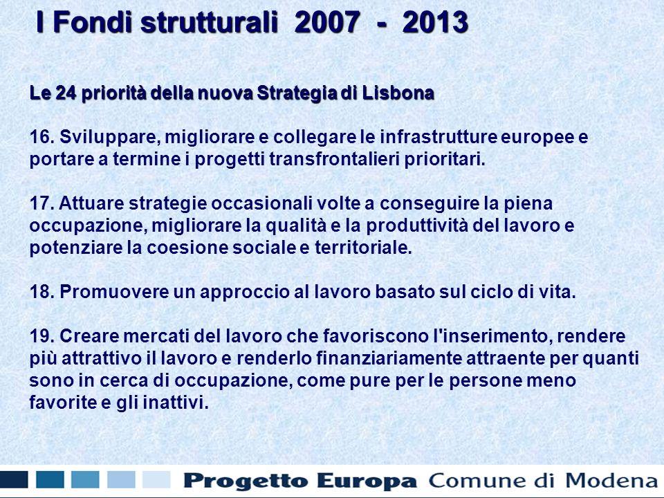 Le 24 priorità della nuova Strategia di Lisbona 16.