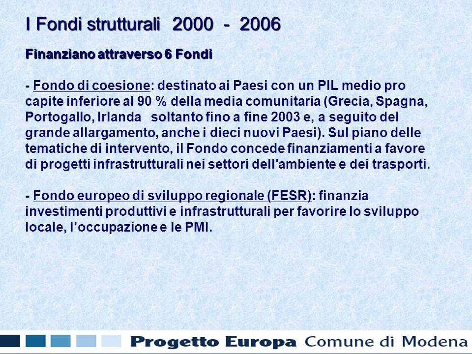 Finanziano attraverso 6 Fondi - Fondo di coesione: destinato ai Paesi con un PIL medio pro capite inferiore al 90 % della media comunitaria (Grecia, Spagna, Portogallo, Irlanda soltanto fino a fine 2003 e, a seguito del grande allargamento, anche i dieci nuovi Paesi).
