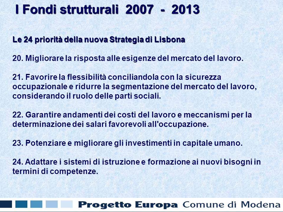 Le 24 priorità della nuova Strategia di Lisbona 20.