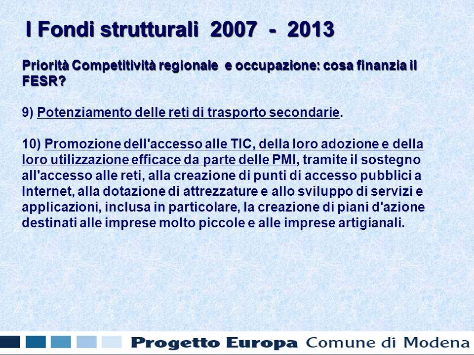 Priorità Competitività regionale e occupazione: cosa finanzia il FESR.