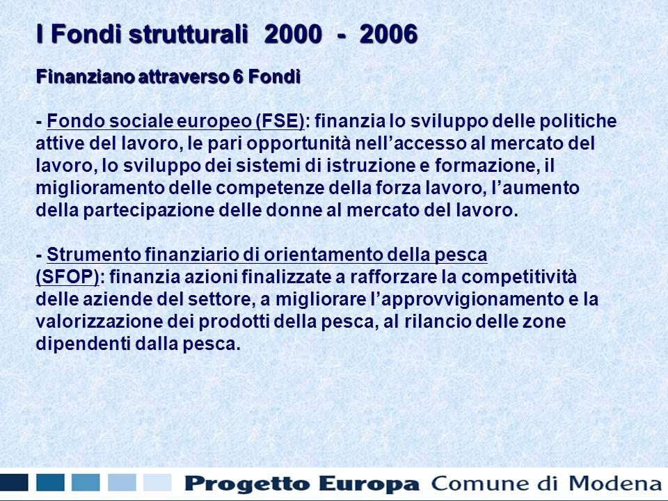 Finanziano attraverso 6 Fondi - Fondo sociale europeo (FSE): finanzia lo sviluppo delle politiche attive del lavoro, le pari opportunità nellaccesso al mercato del lavoro, lo sviluppo dei sistemi di istruzione e formazione, il miglioramento delle competenze della forza lavoro, laumento della partecipazione delle donne al mercato del lavoro.