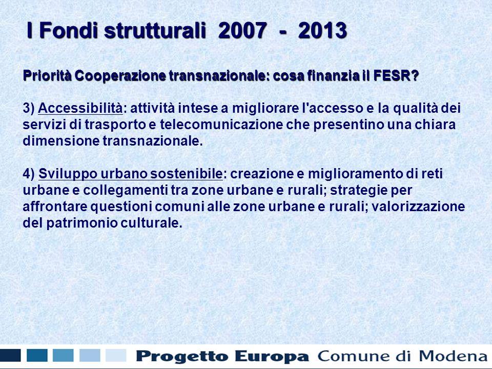 Priorità Cooperazione transnazionale: cosa finanzia il FESR.