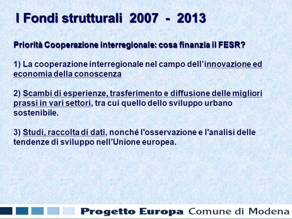 Priorità Cooperazione interregionale: cosa finanzia il FESR.