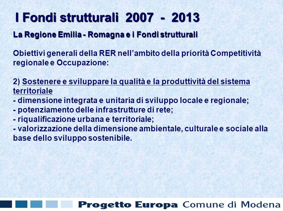 La Regione Emilia - Romagna e i Fondi strutturali Obiettivi generali della RER nellambito della priorità Competitività regionale e Occupazione: 2) Sostenere e sviluppare la qualità e la produttività del sistema territoriale - dimensione integrata e unitaria di sviluppo locale e regionale; - potenziamento delle infrastrutture di rete; - riqualificazione urbana e territoriale; - valorizzazione della dimensione ambientale, culturale e sociale alla base dello sviluppo sostenibile.