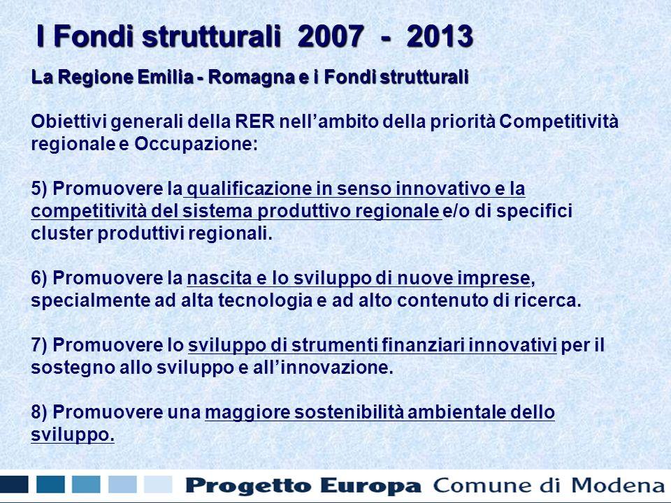 La Regione Emilia - Romagna e i Fondi strutturali Obiettivi generali della RER nellambito della priorità Competitività regionale e Occupazione: 5) Promuovere la qualificazione in senso innovativo e la competitività del sistema produttivo regionale e/o di specifici cluster produttivi regionali.