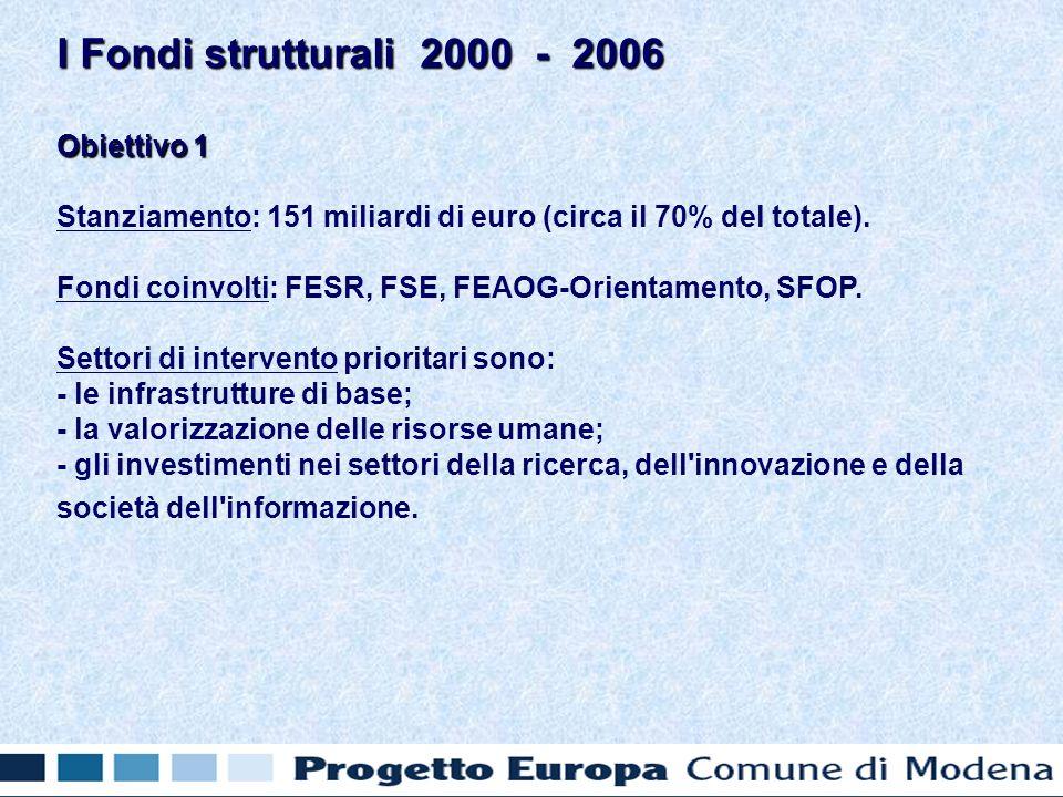 Obiettivo 1 Stanziamento: 151 miliardi di euro (circa il 70% del totale).