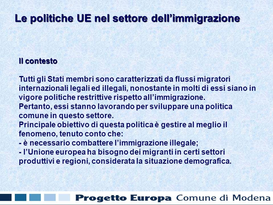 Il contesto Tutti gli Stati membri sono caratterizzati da flussi migratori internazionali legali ed illegali, nonostante in molti di essi siano in vigore politiche restrittive rispetto allimmigrazione.