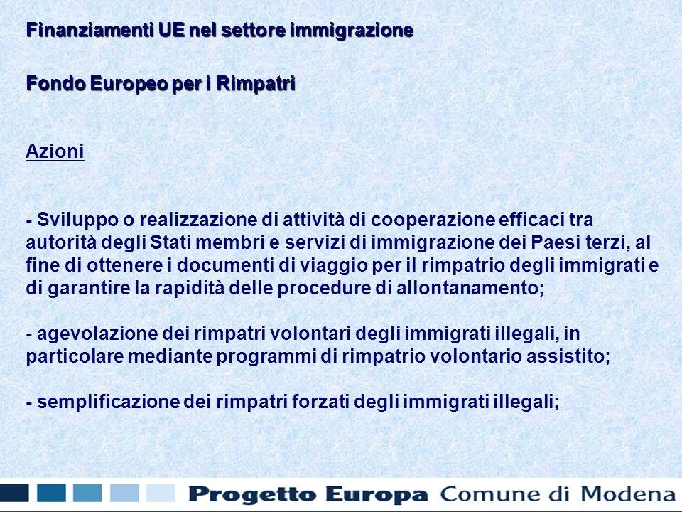 Fondo Europeo per i Rimpatri Azioni - Sviluppo o realizzazione di attività di cooperazione efficaci tra autorità degli Stati membri e servizi di immigrazione dei Paesi terzi, al fine di ottenere i documenti di viaggio per il rimpatrio degli immigrati e di garantire la rapidità delle procedure di allontanamento; - agevolazione dei rimpatri volontari degli immigrati illegali, in particolare mediante programmi di rimpatrio volontario assistito; - semplificazione dei rimpatri forzati degli immigrati illegali; Finanziamenti UE nel settore immigrazione