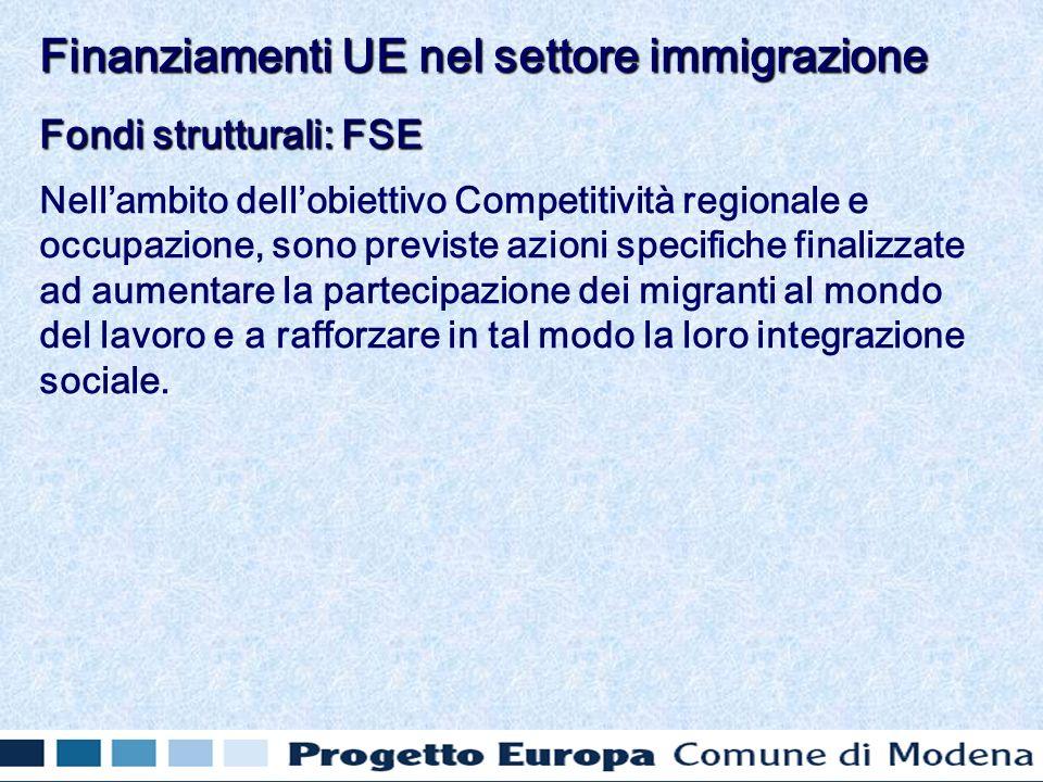 Fondi strutturali: FSE Nellambito dellobiettivo Competitività regionale e occupazione, sono previste azioni specifiche finalizzate ad aumentare la partecipazione dei migranti al mondo del lavoro e a rafforzare in tal modo la loro integrazione sociale.