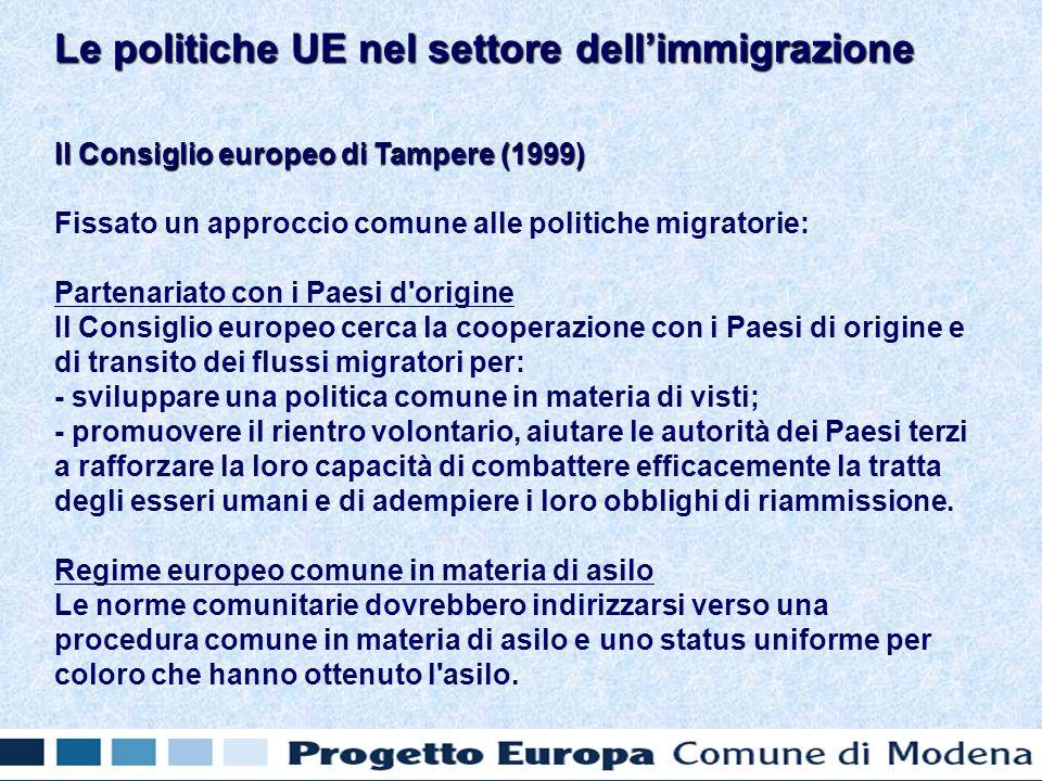 Il Consiglio europeo di Tampere (1999) Fissato un approccio comune alle politiche migratorie: Partenariato con i Paesi d origine Il Consiglio europeo cerca la cooperazione con i Paesi di origine e di transito dei flussi migratori per: - sviluppare una politica comune in materia di visti; - promuovere il rientro volontario, aiutare le autorità dei Paesi terzi a rafforzare la loro capacità di combattere efficacemente la tratta degli esseri umani e di adempiere i loro obblighi di riammissione.