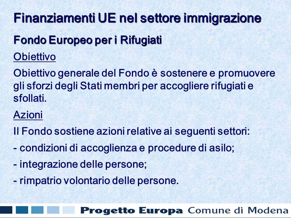 Fondo Europeo per i Rifugiati Obiettivo Obiettivo generale del Fondo è sostenere e promuovere gli sforzi degli Stati membri per accogliere rifugiati e sfollati.