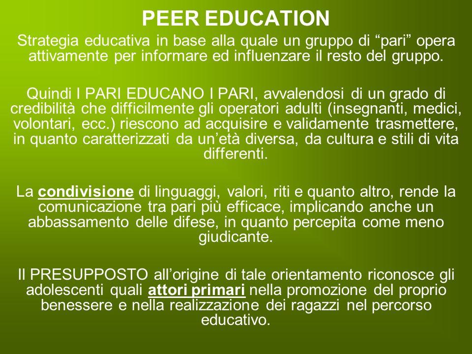 PEER EDUCATION Strategia educativa in base alla quale un gruppo di pari opera attivamente per informare ed influenzare il resto del gruppo.