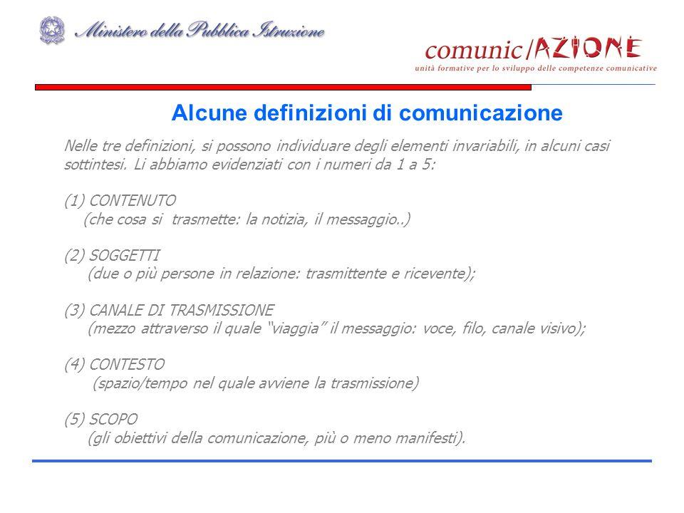 Alcune definizioni di comunicazione Nelle tre definizioni, si possono individuare degli elementi invariabili, in alcuni casi sottintesi.