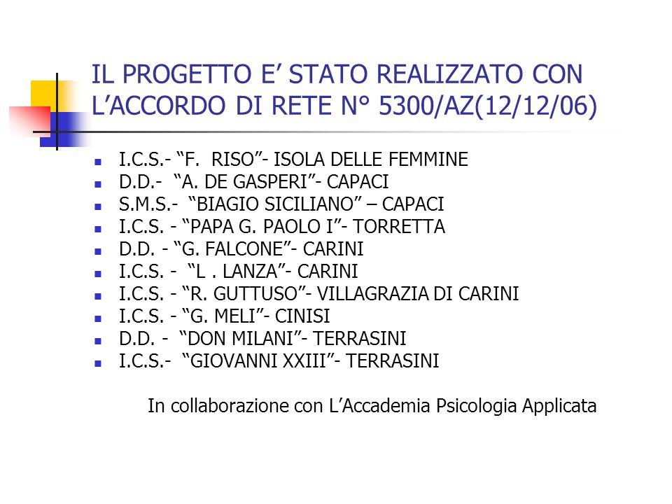 IL PROGETTO E STATO REALIZZATO CON LACCORDO DI RETE N° 5300/AZ(12/12/06) I.C.S.- F. RISO- ISOLA DELLE FEMMINE D.D.- A. DE GASPERI- CAPACI S.M.S.- BIAG
