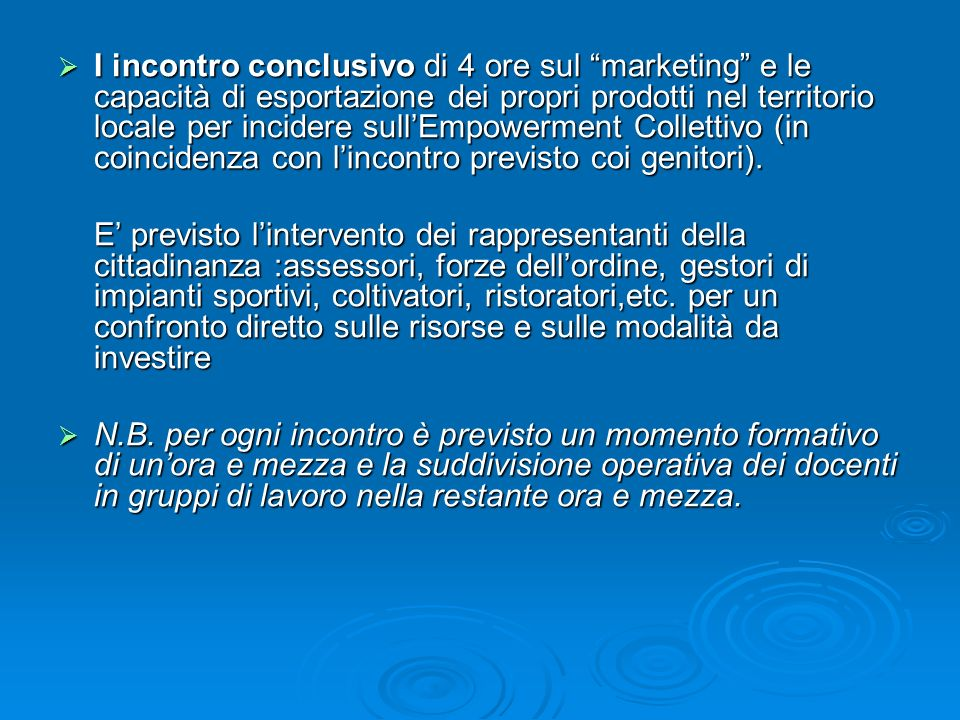 I incontro conclusivo di 4 ore sul marketing e le capacità di esportazione dei propri prodotti nel territorio locale per incidere sullEmpowerment Coll