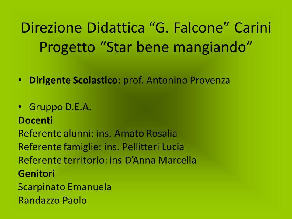 Direzione Didattica G. Falcone Carini Progetto Star bene mangiando Dirigente Scolastico: prof. Antonino Provenza Gruppo D.E.A. Docenti Referente alunn