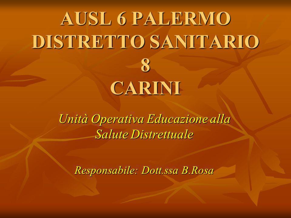 Unità Operativa Educazione alla Salute Distrettuale Responsabile: Dott.ssa B.Rosa AUSL 6 PALERMO DISTRETTO SANITARIO 8 CARINI