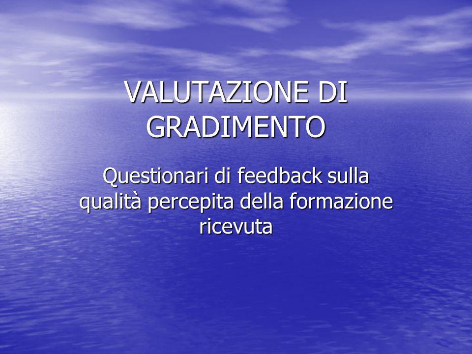 VALUTAZIONE DI GRADIMENTO Questionari di feedback sulla qualità percepita della formazione ricevuta