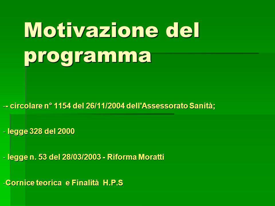 Motivazione del programma -- circolare n° 1154 del 26/11/2004 dell Assessorato Sanità; - legge 328 del 2000 - legge n.