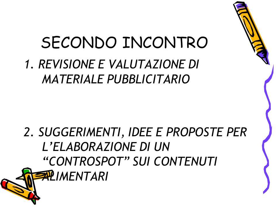 SECONDO INCONTRO 1. REVISIONE E VALUTAZIONE DI MATERIALE PUBBLICITARIO 2.