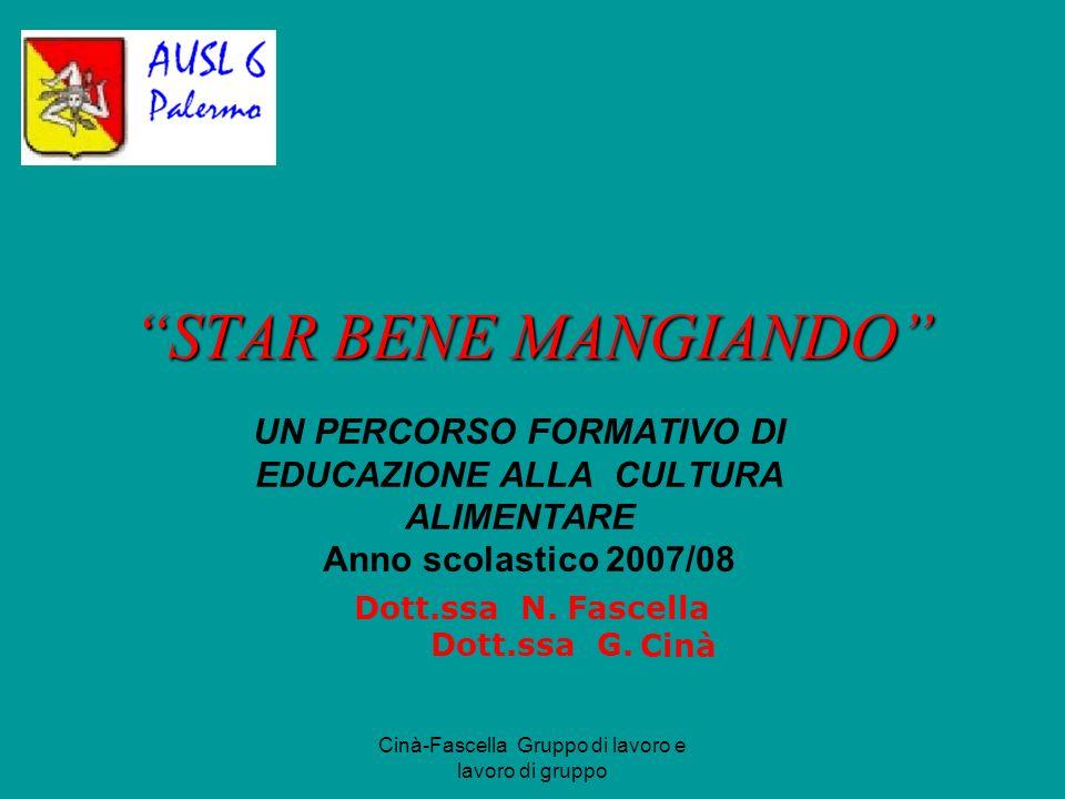 Cinà-Fascella Gruppo di lavoro e lavoro di gruppo STAR BENE MANGIANDO UN PERCORSO FORMATIVO DI EDUCAZIONE ALLA CULTURA ALIMENTARE Anno scolastico 2007/08 Dott.ssa N.