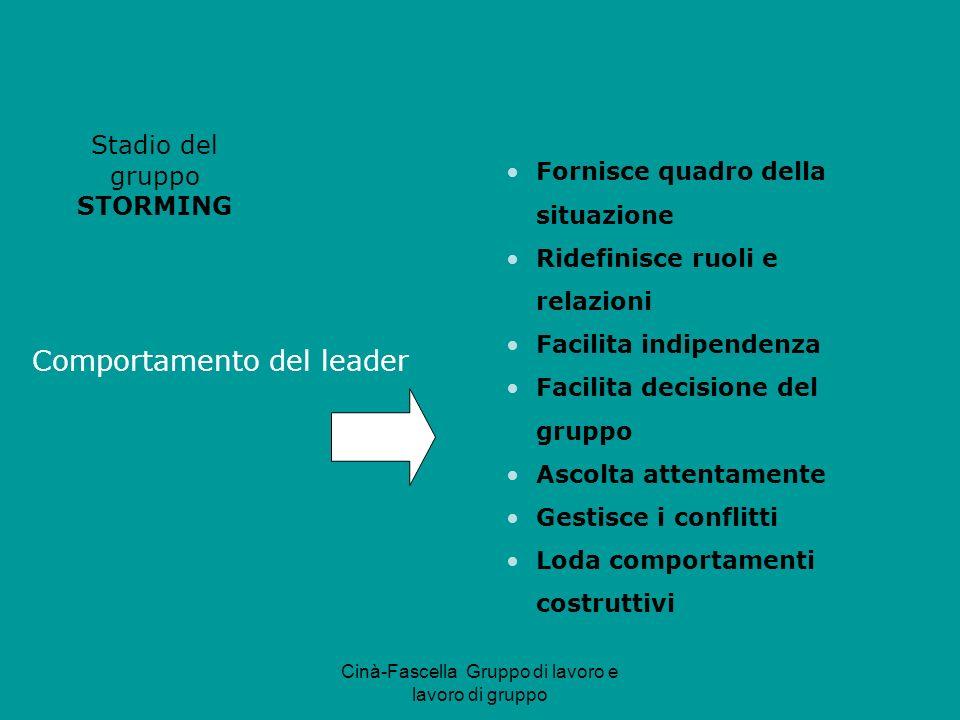 Cinà-Fascella Gruppo di lavoro e lavoro di gruppo Comportamento del leader Stadio del gruppo STORMING Fornisce quadro della situazione Ridefinisce ruo