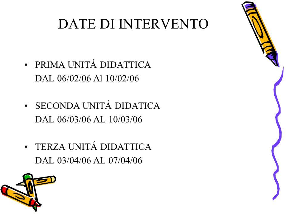DATE DI INTERVENTO PRIMA UNITÁ DIDATTICA DAL 06/02/06 Al 10/02/06 SECONDA UNITÁ DIDATICA DAL 06/03/06 AL 10/03/06 TERZA UNITÁ DIDATTICA DAL 03/04/06 AL 07/04/06