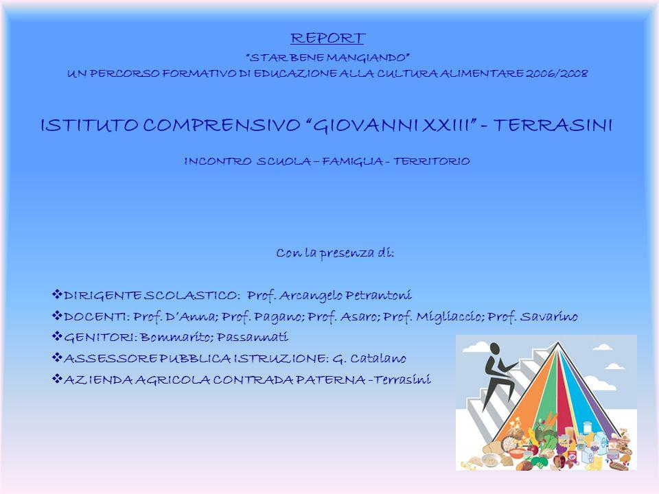 REPORT STAR BENE MANGIANDO UN PERCORSO FORMATIVO DI EDUCAZIONE ALLA CULTURA ALIMENTARE 2006/2008 ISTITUTO COMPRENSIVO GIOVANNI XXIII - TERRASINI INCONTRO SCUOLA – FAMIGLIA - TERRITORIO Con la presenza di: DIRIGENTE SCOLASTICO: Prof.