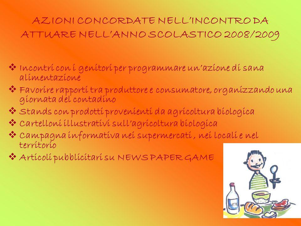 AZIONI CONCORDATE NELLINCONTRO DA ATTUARE NELLANNO SCOLASTICO 2008/2009 Incontri con i genitori per programmare unazione di sana alimentazione Favorir