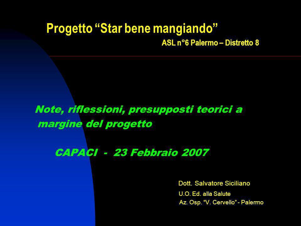 Progetto Star bene mangiando ASL n°6 Palermo – Distretto 8 Note, riflessioni, presupposti teorici a margine del progetto CAPACI - 23 Febbraio 2007 Dott.