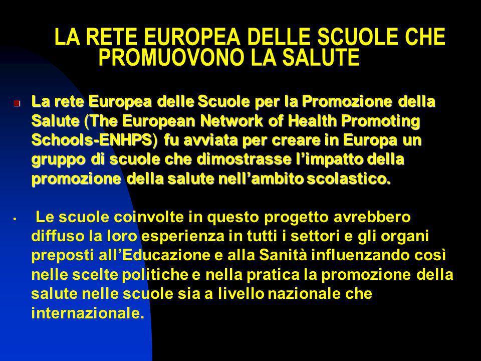 LA RETE EUROPEA DELLE SCUOLE CHE PROMUOVONO LA SALUTE La rete Europea delle Scuole per la Promozione della Salute (The European Network of Health Prom