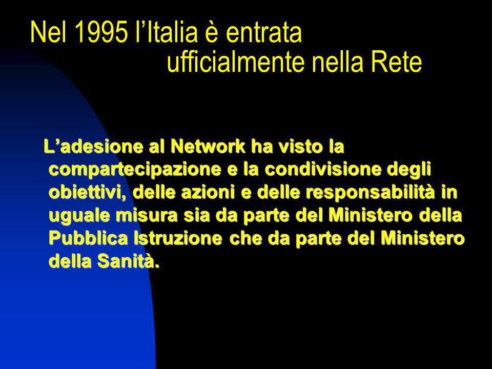 Nel 1995 lItalia è entrata ufficialmente nella Rete Ladesione al Network ha visto la compartecipazione e la condivisione degli obiettivi, delle azioni e delle responsabilità in uguale misura sia da parte del Ministero della Pubblica Istruzione che da parte del Ministero della Sanità.