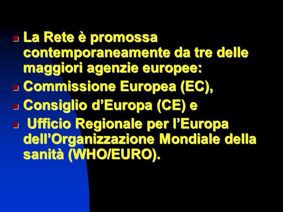 La Rete è promossa contemporaneamente da tre delle maggiori agenzie europee: La Rete è promossa contemporaneamente da tre delle maggiori agenzie europee: Commissione Europea (EC), Commissione Europea (EC), Consiglio dEuropa (CE) e Consiglio dEuropa (CE) e Ufficio Regionale per lEuropa dellOrganizzazione Mondiale della sanità (WHO/EURO).