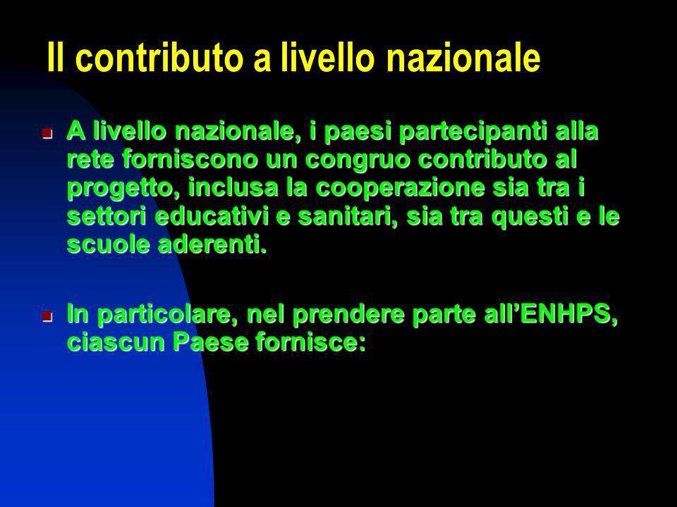 Il contributo a livello nazionale A livello nazionale, i paesi partecipanti alla rete forniscono un congruo contributo al progetto, inclusa la cooperazione sia tra i settori educativi e sanitari, sia tra questi e le scuole aderenti.