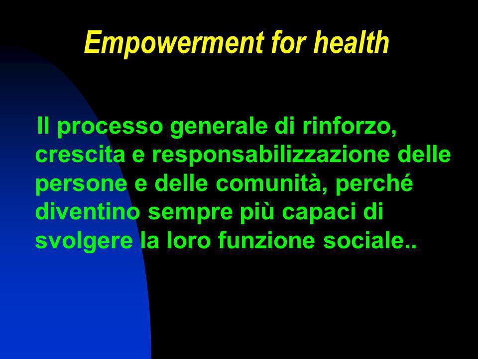 Empowerment for health Il processo generale di rinforzo, crescita e responsabilizzazione delle persone e delle comunità, perché diventino sempre più capaci di svolgere la loro funzione sociale..
