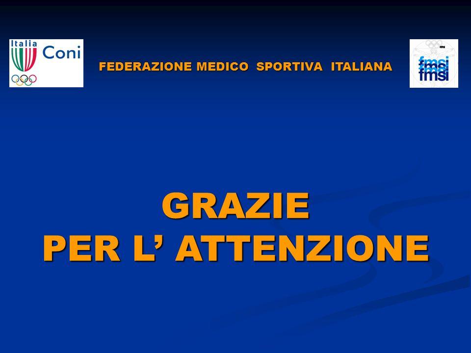 FEDERAZIONE MEDICO SPORTIVA ITALIANA FEDERAZIONE MEDICO SPORTIVA ITALIANAGRAZIE PER L ATTENZIONE
