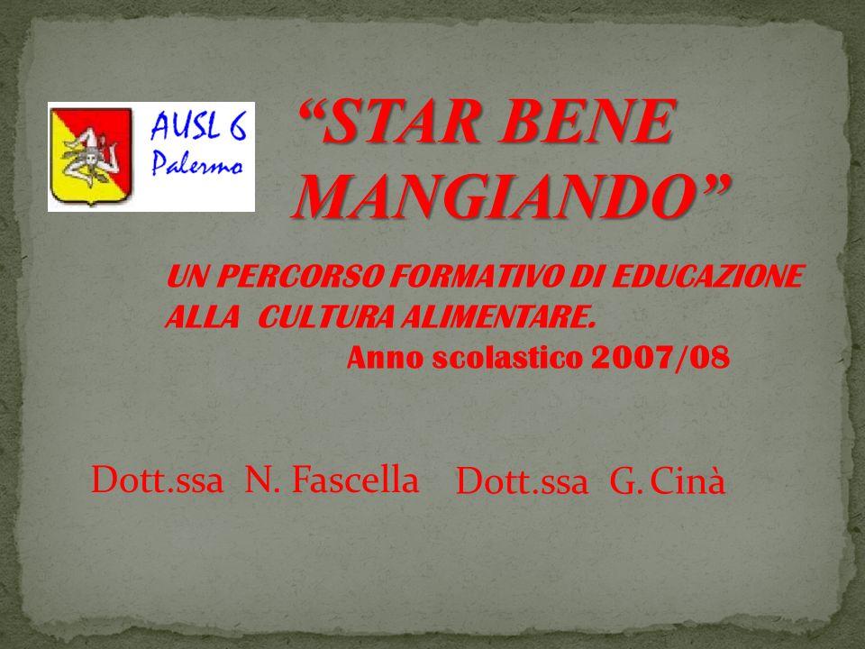 STAR BENE MANGIANDO UN PERCORSO FORMATIVO DI EDUCAZIONE ALLA CULTURA ALIMENTARE. Anno scolastico 2007/08 Dott.ssa N. Fascella Dott.ssa G. Cinà