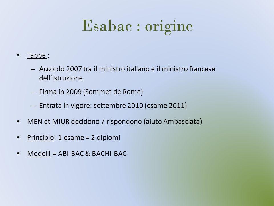 Esabac : origine Tappe : – Accordo 2007 tra il ministro italiano e il ministro francese dellistruzione. – Firma in 2009 (Sommet de Rome) – Entrata in