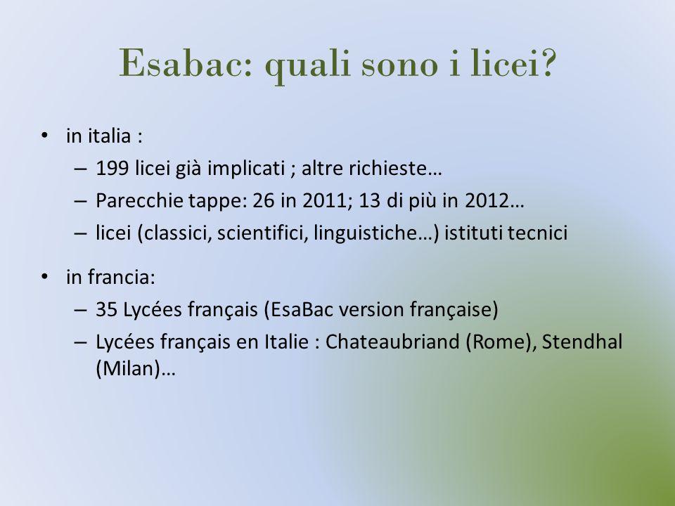 Esabac: quali sono i licei? in italia : – 199 licei già implicati ; altre richieste… – Parecchie tappe: 26 in 2011; 13 di più in 2012… – licei (classi