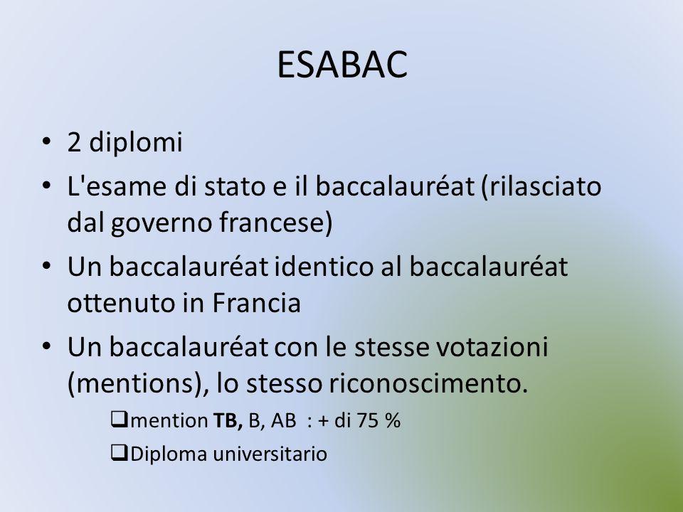 ESABAC 2 diplomi L'esame di stato e il baccalauréat (rilasciato dal governo francese) Un baccalauréat identico al baccalauréat ottenuto in Francia Un