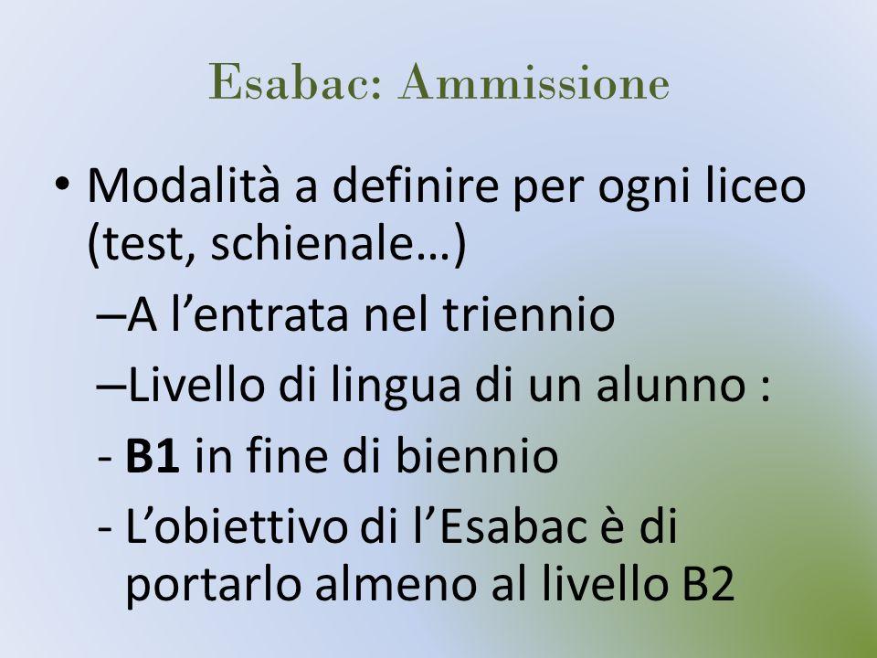 Esabac: Ammissione Modalità a definire per ogni liceo (test, schienale…) – A lentrata nel triennio – Livello di lingua di un alunno : -B1 in fine di b